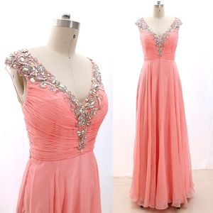 V Neck Beaded Coral Prom Dress Formal Evening Gown